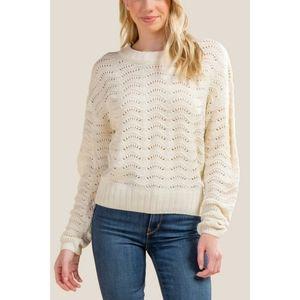Francesca's Cream Paxton Pointelle Sweater